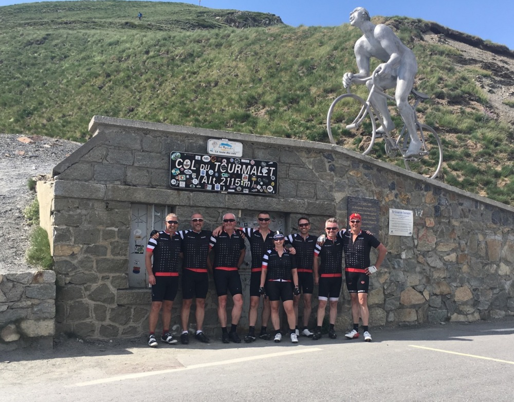 Marshfield Team at top of Col Du Tourmalet